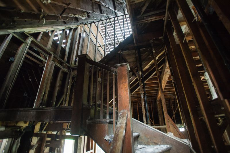 OUTLOOK PHOTO: JOSH KULLA - The interior stairs of the View Point Inn retain their original craftsmanship as they wind their way to the second floor. Such details will be retained during the restoration of the 1924 historical building.