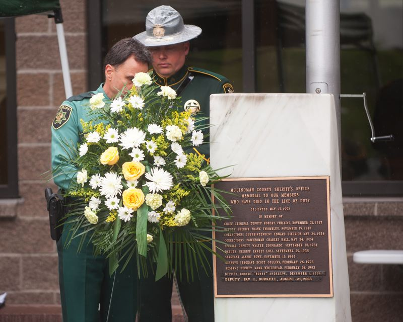 OUTLOOK PHOTO: JOSH KULLA - The Multnomah County Sheriff's Office held its annual memorial service Thursday, May 11, to commemorate the service of the 11 members of the agency killed in the line of duty.