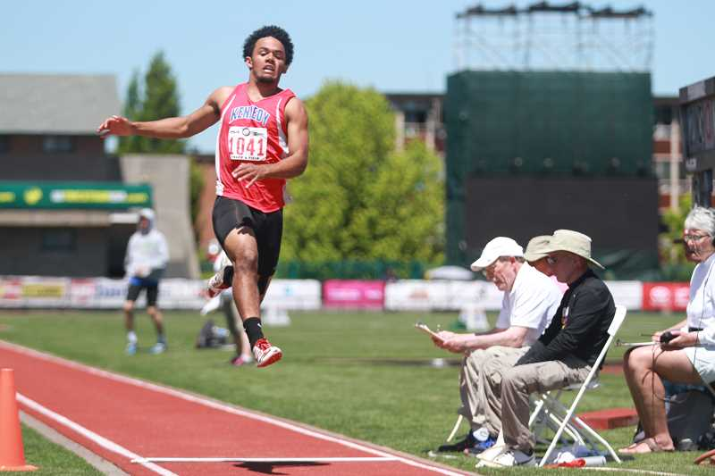 PHIL HAWKINS - Mitchell needed just his first jump to win the 2A long jump title and passed on his final attempts.