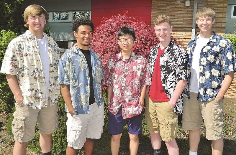 COURTESY PHOTO: VINCE TERESI - This year's Mr. JFK contestants (from left) are Jack Suing, Bishop Mitchell, John Kim, Skyler Bizon and Brett Traeger.