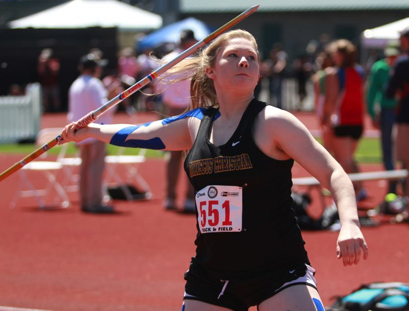 PAMPLIN MEDIA: PHILLIP HAWKINS - Damascus Christians Nicole Manning won the 1A javelin title with her final throw of the prelims last Thursday.
