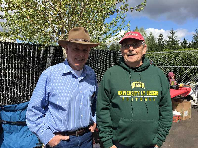 COURTESY OF LISA GOSSETT - Lee Gossett, left, Andrew Fujii's grandfather, and Dean Goodding, father of Jason Goodding, the Seaside officer killed in the line of duty in Seaside last year, helped out with the new K9 obstacle course.