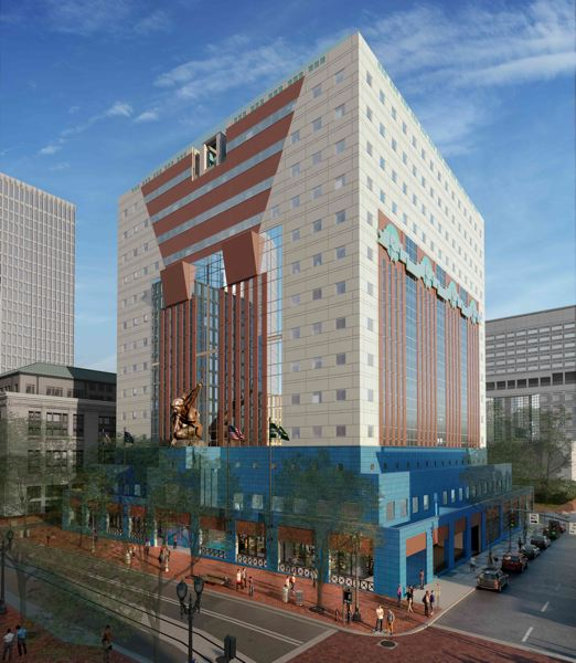 COURTESY: DLR GROUP - A rendering of the Portland Building when it is renovated in 2020  and 1,350 city staff move back in to a lighter, cozier space. (Impossible southern shadows notwithstanding.)