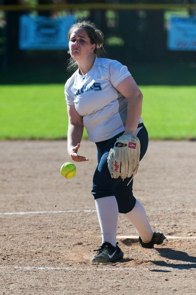 TRIBUNE PHOTO: CHRISTOPHER OERTELL - Liberty High's Emily Cundall delivers a pitch Monday against Franklin.