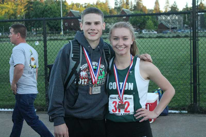 PIONEER PHOTO: CONNER WILLIAMS  - Colton junior Evan Rasor (left) and senior Rachel McCoy pose for a photo with their medals at the state