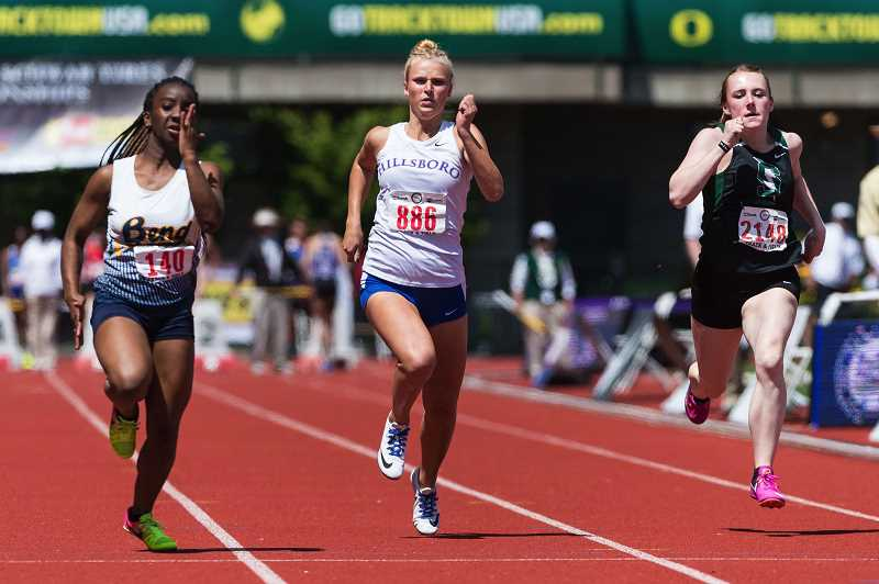 HILLSBORO TRIBUNE PHOTO: CHRISTOPHER OERTELL - Hillsboro's Kennedy Taube runs the 100 meters at the OSAA 5A State Track and Field meet in Eugene last weekend.