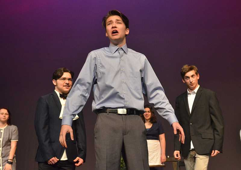 REVIEW PHOTO: VERN UYETAKE - Taylor Larson, who plays Mike in The Big Hotel, co-wrote the script with fellow LOHS senior Julia Donahue.
