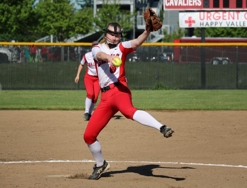REVIEW/NEWS PHOTO: JIM BESEDA - Clackamas' Nicole McBride threw 5 2-3 innings of shutout relief in Monday's 3-1 OSAA Class 6A playoff win over Southridge.