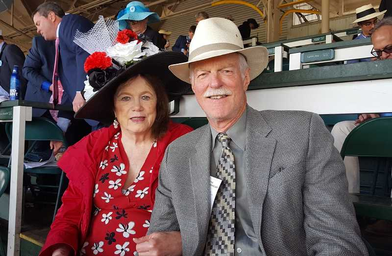 SUBMITTED PHOTO - Kay Jewett and her husband, Stiles, do it up right at the Kentucky Derby.