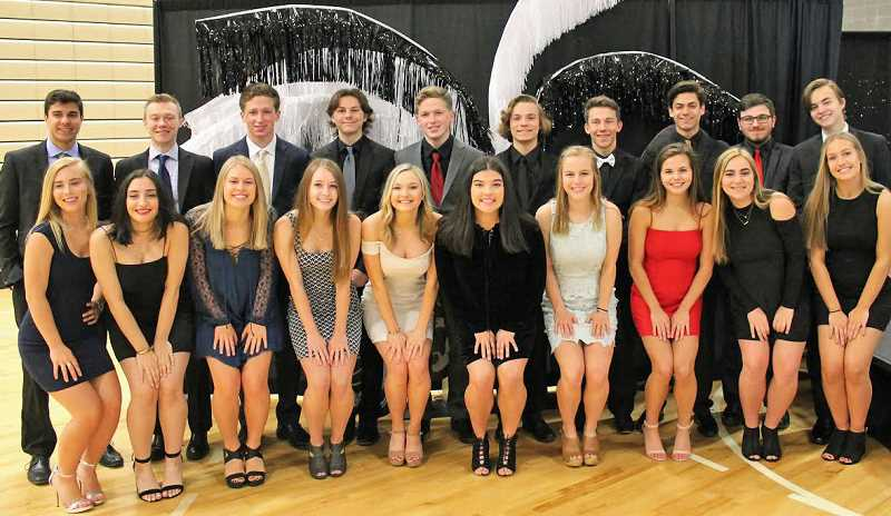 SUBMITTED PHOTO: COURTESY OF LAKERIDGE HIGH SCHOOL - The Lakeridge prom court includes (front row from left) Kenzie Hudler, Remi Lathrop, Rachel Kuhnert, Emily Bell, Jill Coleman, Hannah Miller, Marin Daraee, Gabi Rouhier, Gillian Anderson, and Libby Hornecker; (back row from left) Ian Gaekwad, Mitch Rose, Kevin Thropp, Kirby Delfatti, Liam Thropp, Cooper Lawhead, Ben Seydel, Dante Salas, Michael Fain and Dylan Nelson.
