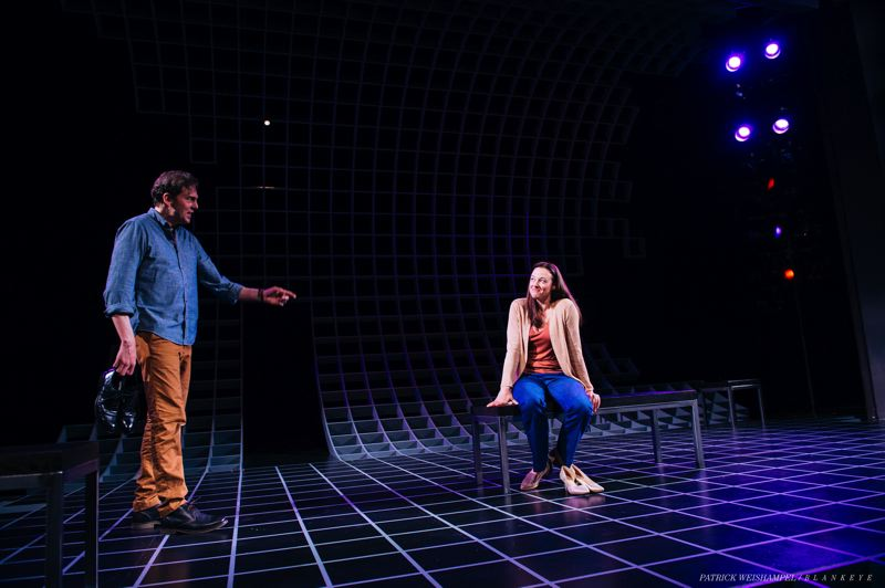 PHOTO BY PATRICK WEISHAMPEL/BLANKEYE - Dana Green as Marianne and Silas Weir Mitchell as Roland in 'Constellations' at The Armory.