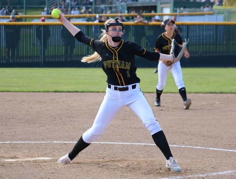 REVIEW/NEWS PHOTO: JIM BESEDA - Putnam's Sarah Abramson threw a two-hitter with two walks and 14 strikeouts, leading the Kingsmen to an 8-2 home win over Crater in Wednesday's OSAA Class 5A softball playoffs.