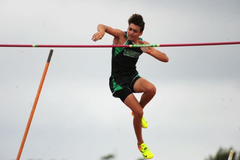 COURTESY: BERT RICHARDSON/DYESTAT.COM - Armand Duplantis, 17, is the world leader in the pole vault this year, but he also competes for his high school team in Louisiana. 'Trying to stay as normal a high-schooler as I can,' he says.