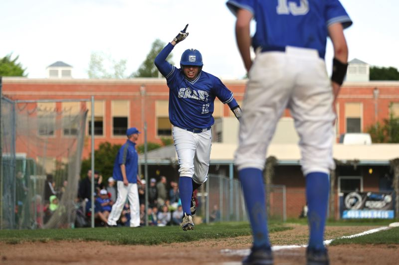 TRIBUNE PHOTO: JAIME VALDEZ - Grant High senior Reese Patanjo heads to the plate after a sixth-inning home run that gave the Generals a 5-1 lead they maintained on Wednesday against Wilson.