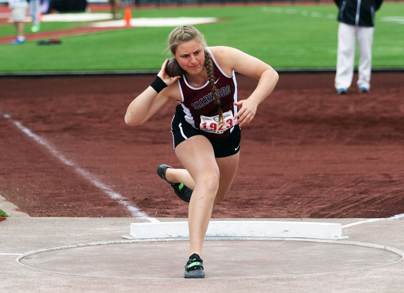 DAN BROOD - Sherwood junior Shelby Moran took second place in the shot put event at the Class 6A state meet.