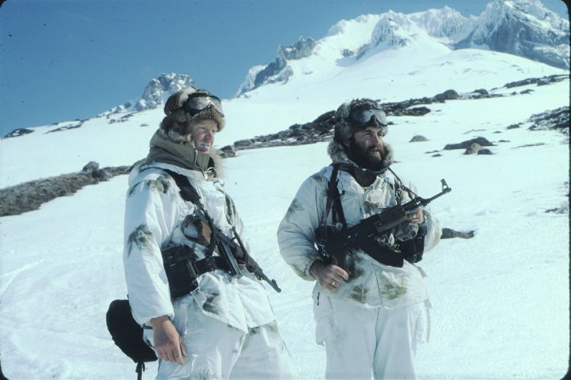 CONTRIBUTED PHOTO: BRUCE HAYNES - Local mountain residents Bruce Haynes, left, and Jerry Gomes became Russian paratroopers when they served as extras in the 1981 movie World War III that was filmed above Timberline Lodge.