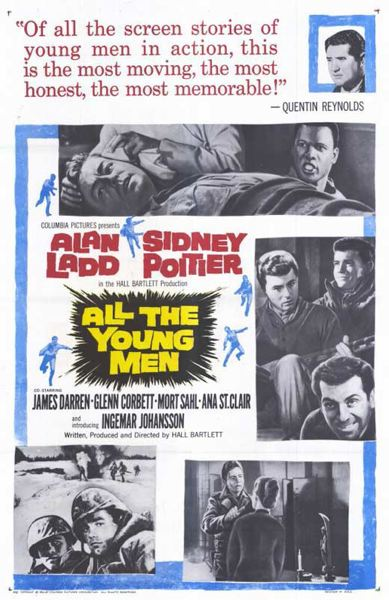CONTRIBUTED PHOTO: PAUL KELLER - This handbill promotes the 1960 movie All the Young Men, starring Sidney Poitier and Alan Ladd, that, for several weeks, turned Timberline Lodges ski area into a Korean War battlefield.
