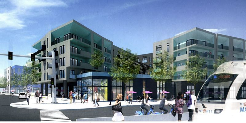 COURTESY RENDERING - Building B, a five-story, mixed-use apartment building with ground-floor retail, is shown here from a vantage point at the 'Mohawk' MAX light-rail stop on Burnside Street.