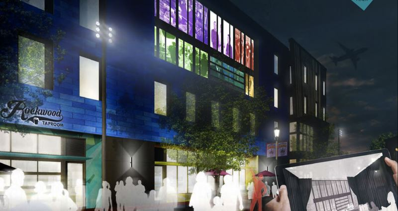 COURTESY RENDERING - Planners say future tenants of Bulding A, a four-story mixed-used office building, may have the capability of projecting live video or pictures onto the building's facade.
