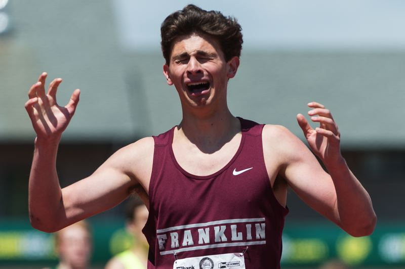 TRIBUNE PHOTO: CHRISTOPHER OERTELL - Henry Mong of Franklin High wins the state championship at 1,500 meters during the Class 6A meet at Hayward Field. Mong, who also won the state 800 title, has been named the Sportsman of the Year in the Portland Interscholastic League.