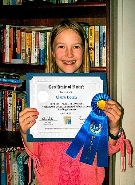 RITA A. LEONARD - Llewellyn Elementary School fourth grader Claire Dolan won first place at the Regional Elementary Spelling Bee in Hillboro on April 28th.