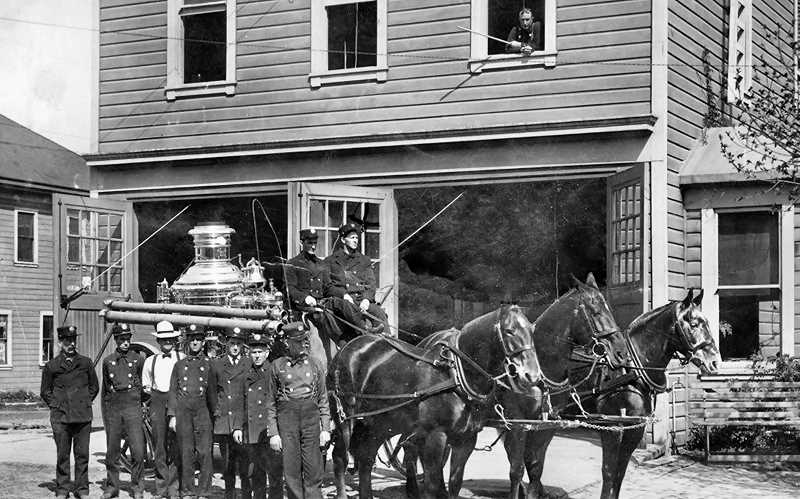 COURTESY OF THE HISTORIC BELMONT FIREHOUSE - Here are the horses of Sellwood Fire Company #20, at the corner of 13th and Tenino (today the location of SMILE Station). Horses drew fire equipment to the fires until 1920, when they were replaced with motorized fire trucks.