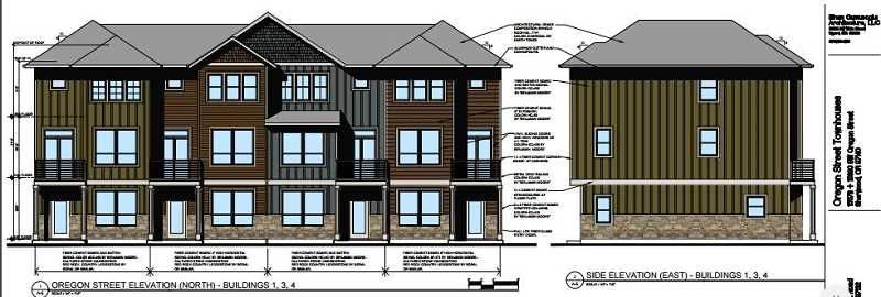 COURTESY AKS ENGINEERING & FORESTRY, LLC - These archtectural renderings show what three of the six seperate buildings containing a total of 25 townhouses would look like along Oregon Street in Old Town Sherwood.
