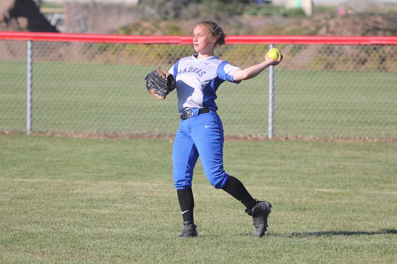 WILL DENNER/MADRAS PIONEER - Madras senior Melissa Field provided one of the Buffs' most explosive bats during the 2017 season, while also patrolling the outfield from center.