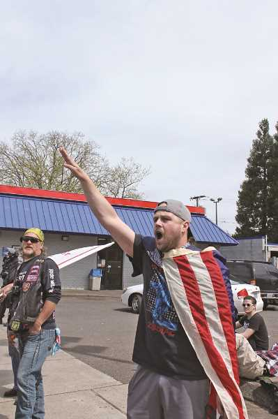 TRIBUNE PHOTO: LYNDSEY HEWITT  - Jeremy Joseph Christian  had been observed yelling racist threats during the so-called March for Free Speech along 82nd Avenue on Saturday, April 29.