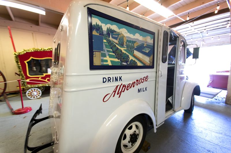 PORTLAND TRIBUNE: JAIME VALDEZ - The last of the original milk trucks is stored in Dairyville at Alpenrose Dairy in Southwest Portland.