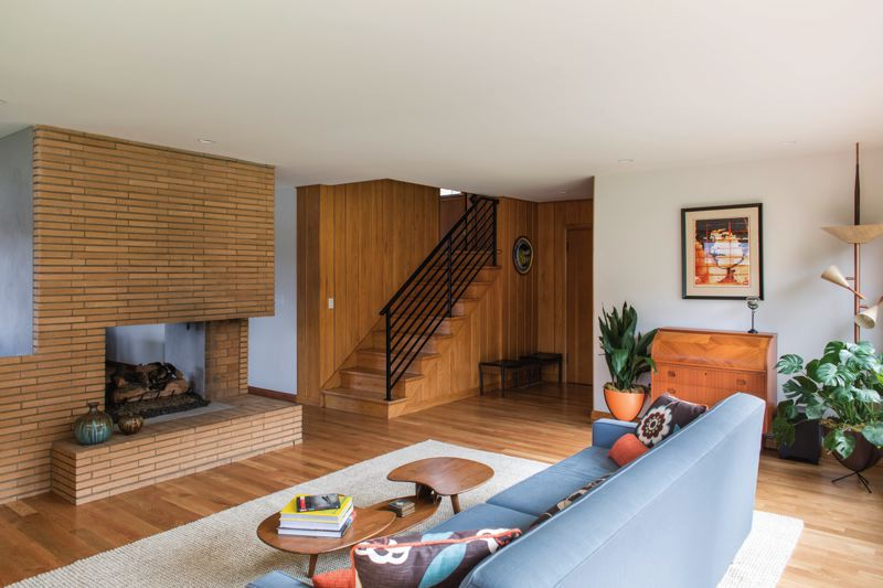 COURTESY: MA+DS HOME TOURS  - The living room of the remodeled Home number Two on the Modern Architecture + Design Society Home Tour which takes place all day Saturday June 3 in seven locations across the Portland area. This home at 3905 N.E. Holman St. was radically remodeled by architect Risa Boyer Leritz to update a Mid-century modern building  for 21st Century lifestyles.