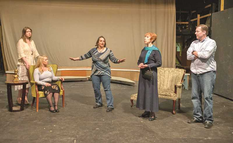 COURTESY PHOTO: KATHY CAMPBELL - Left to right, Cecily Cardew (Lindsay Partain), Gwendolen Fairfax (Tonja Schreiber), Algernon Moncrieff (Anne Kennedy), Lady Bracknell (Pat Lach), John Worthing (Mark Putnam) rehearse for Theatre in the Grove's 'The Importance of Being Earnest.'