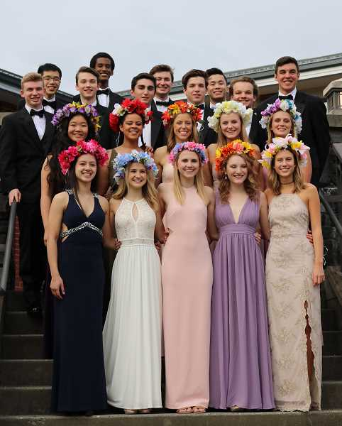 SUBMITTED PHOTO: COURTESY OF LOHS - The May Fete court and their attendants (from left): front row, Lauren Cooper, Danielle Smith, Katy Howells, Nora Kearns, Laura Ayre; second row, Jenny Kwon, Camryn Leland, Cami Dozois, Maranda Yob, Sophie Bauer; third row, Zack Willihnganz, Taylor Larson, Will Cohen, Forrest Johnson, Mitch Glad, Cole Mehaffey; and fourth row, Kevin Pataroque, Daniel Nsengimana, Cameron Black, Owen Kong.