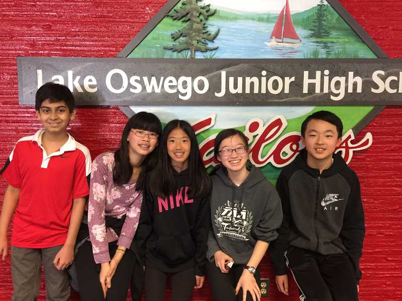 SUBMITTED PHOTO - During the 2017 Perennial Math Tournament's national championships May 15-22, the Lake Oswego Junior High Seventh Grade Team won the second place.