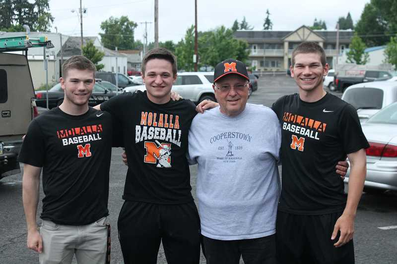 PIONEER PHOTO: CONNER WILLAMS  - From left: Trevor Miles (SS, P); Will Schaefer (1B, P); Jim Dantona (head coach); and Aaron Alexander (P, SS).