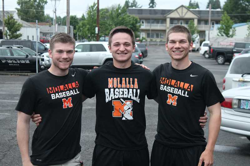 PIONEER PHOTO: CONNER WILLAMS  - Molalla baseball's starting seniors form the 2017 season. From left: Trevor Miles, Will Schaefer, Aaron Alexander.