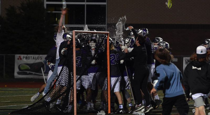 TIMES PHOTO: MATT SINGLEDECKER - The Sunset boys lacrosse team took down Jesuit in the OHLSA semifinals on Wednesday and will play OES in the state title.