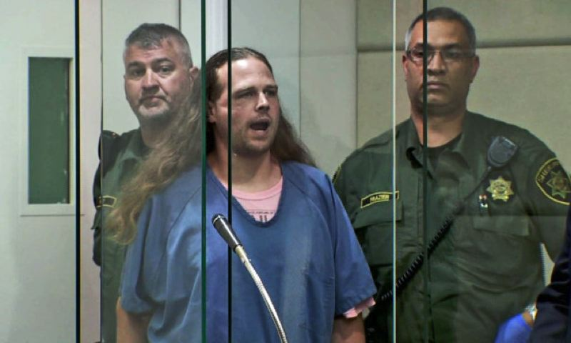 KOIN 6 NEWS PHOTO - Jeremy Christian at his arraigment for allegedly killing 2 people and wounding a third on a MAX train, May 30, 2017.