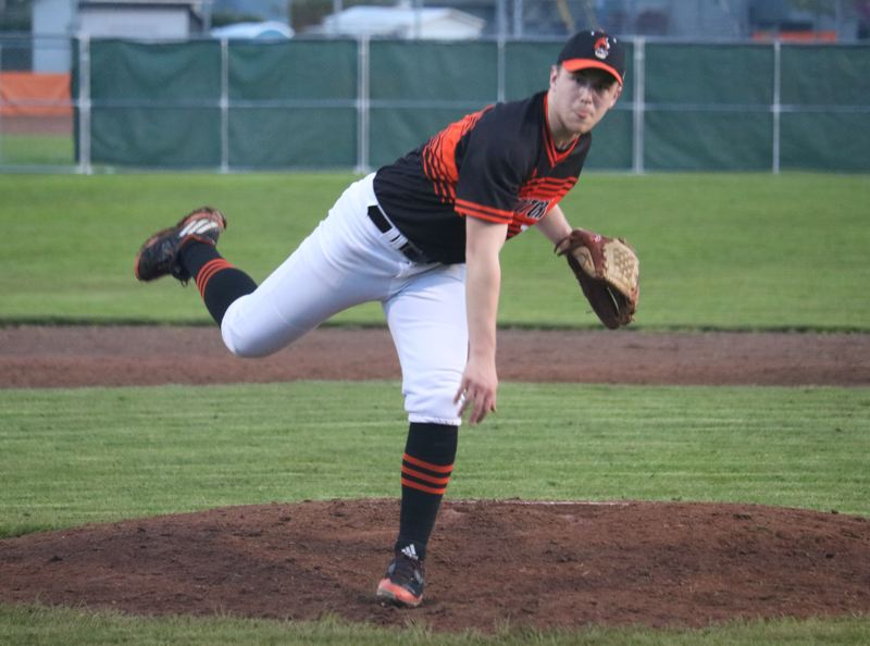 REVIEW/NEWS PHOTO: JIM BESEDA - In five league starts, Gladstone's Logan Saltares went 4-0 with a 1.33 ERA with one shutout.