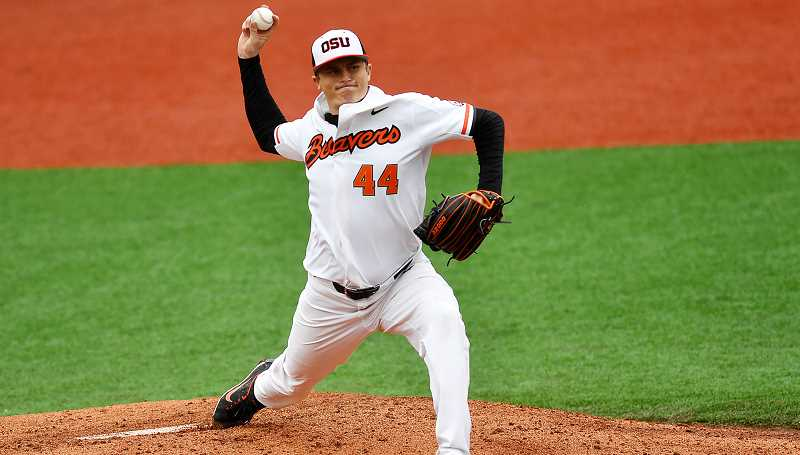 SCOBEL WIGGINS/FOR THE PIONEER - Oregon State right-handed pitcher Jake Thompson  has become an elite MLB prospect as a redshirt junior. He has a 12-0 record and a 1.31 ERA, which ranks third in the NCAA. His grandfather, Nels Thompson, led the Bulldogs to two football playoff appearances during his four-year tenure.