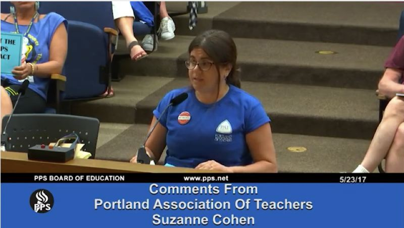 PORTLAND PUBLIC SCHOOLS - Suzanne Cohen, president of the Portland Association of Teachers union, testified May 23 about the union's displeasure with the district's stance on contract talks.