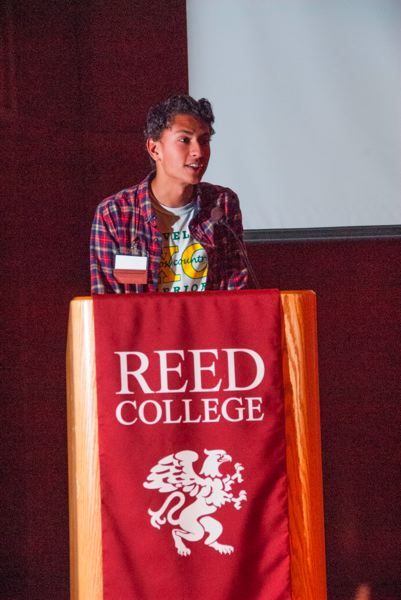 SUBMITTED PHOTO - Adam Nayak accepts his Youth Achievement Award from the Johnson Creek Watershed Council.