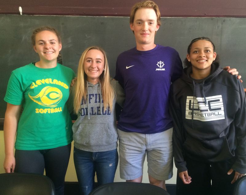 TRIBUNE PHOTO: STEVE BRANDON - Four Cleveland High athletes headed for college with athletic hopes: (from left) Marci Roberti, Franchesca Venneri, Eli Morse and Tynesha Parnell.
