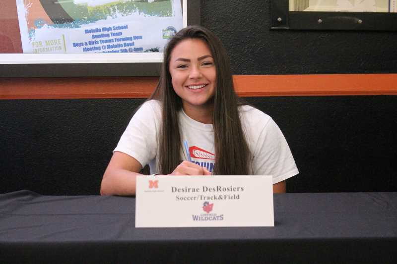 PIONEER PHOTO: CONNER WILLIAMS  - Molalla senior Desirae DesRosiers will continue her soccer and track & field careers atDivision III Linfield College in the fall, where she'll study Nursing.
