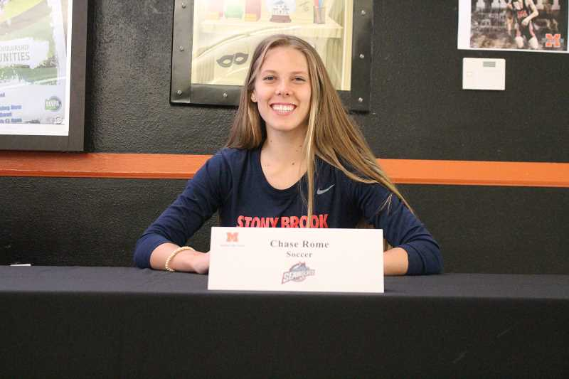 PIONEER PHOTO: CONNER WILLIAMS  - Molalla senior Chase Rome will continue her soccer career at Division I Stony BrookUniversity in New York in the fall, where she'll study Health Science.
