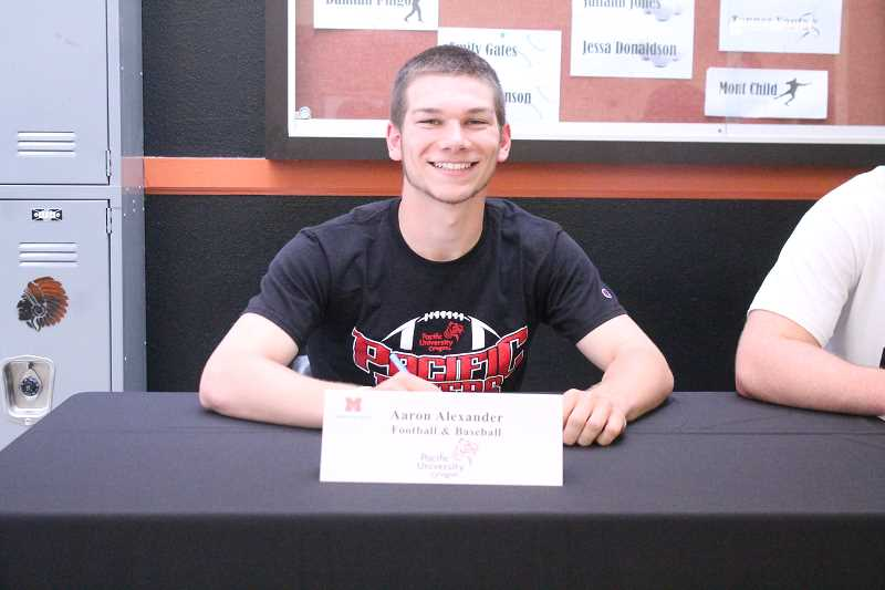 PIONEER PHOTO: CONNER WILLIAMS  - Molalla senior Aaron Alexander will continue his baseball and footballcareers at Division III Pacific University in the fall, where he'll studyCriminal Justice.