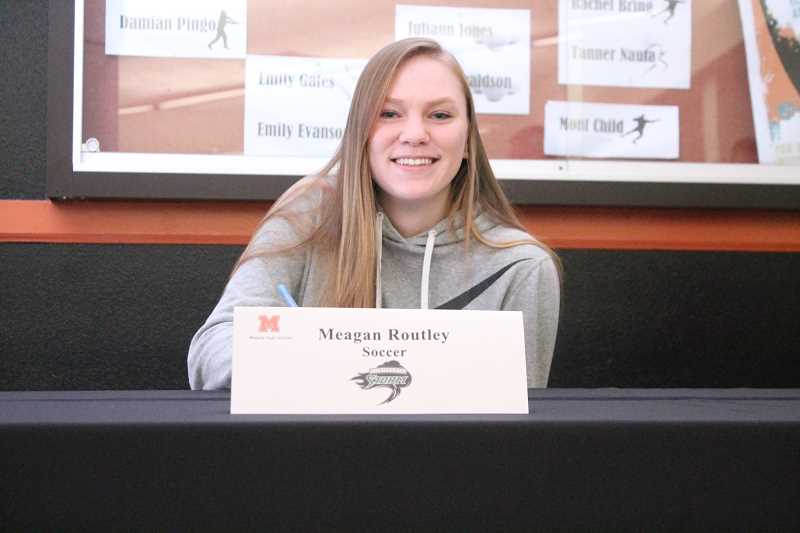 PIONEER PHOTO: CONNER WILLIAMS  - Molalla senior Meagan Routley will continue her soccer career at Chemeketa CommunityCollege in the fall, where she'll decide on an area of study.