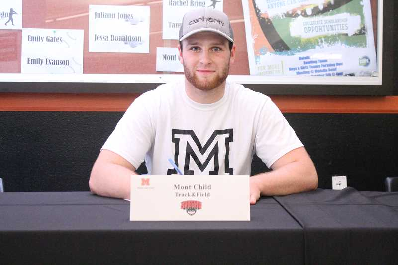 PIONEER PHOTO: CONNER WILLIAMS  - Molalla senior Mont Child will continue his track & field career at Western OregonUniversity in the fall, where he'll study Criminal Justice.