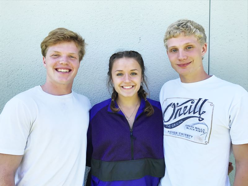 PHOTO CREDIT: SCAPPOOSE ATHLETICS - From left, Indians juniors Nate Maller, MacKenzie Ela and Nicky Gill.