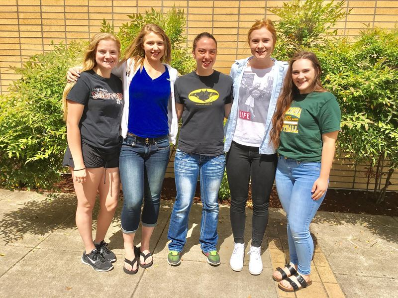 SPOTLIGHT PHOTO: JAKE MCNEAL - From left, Indians sophomore Sara Mills, juniors Nicole Doughtery, Gabie Krueger and Hannah Galey and senior Nicole Lukinbeal.